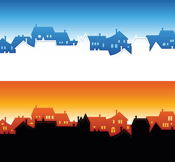 Community Skyline Backgrounds Neighborhood and community skyline backgrounds with copy space. community silhouettes stock illustrations