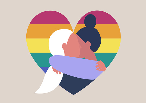 LGBT community, two female adults hugging on a rainbow heart background, love is love, human rights