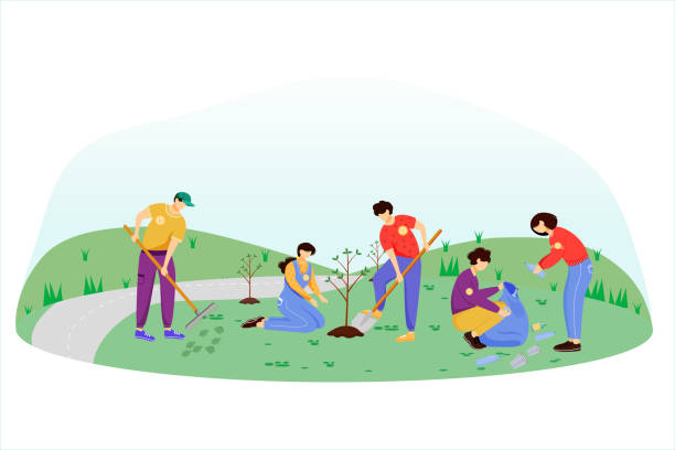 ilustrações de stock, clip art, desenhos animados e ícones de community work day flat vector illustration. volunteers, activists isolated cartoon characters on white background. young people cleaning garbage and planting trees. environment protection concept - plantar