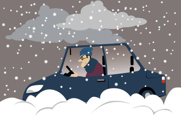 illustrazioni stock, clip art, cartoni animati e icone di tendenza di commute in the snow storm - car chill