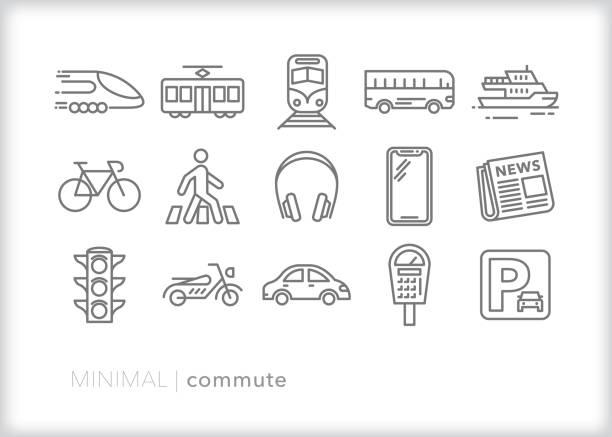 stockillustraties, clipart, cartoons en iconen met pendelen van lijn pictogrammen voor transport naar het werk - voetganger