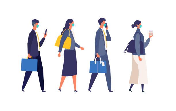 新しい普通のライフスタイルで働くビジネスマンの通勤。仮面を被ったビジネスの人々の平面設計ベクトルイラスト。 - マスク 日本人点のイラスト素材/クリップアート素材/マンガ素材/アイコン素材