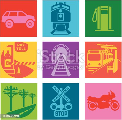 Vector icons with a commuting or traveling theme.