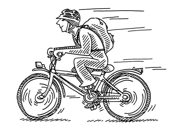 Commuter Cyclist Side View Drawing Hand-drawn vector drawing of a Commuter Cyclist Side View. Black-and-White sketch on a transparent background (.eps-file). Included files are EPS (v10) and Hi-Res JPG. cartoon character figure stock illustrations