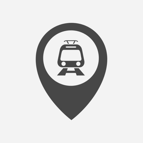 Commuter train in location marker pin icon. Commuter train in location marker pin icon. high speed train stock illustrations