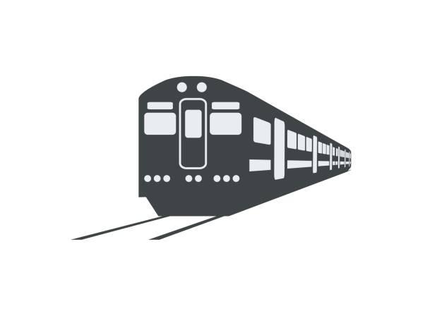●通勤電車シルエットのシンプルなイラストをパースビューで - 電車点のイラスト素材/クリップアート素材/マンガ素材/アイコン素材