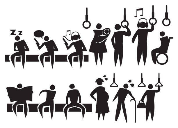 commuters in public transport icon set - old man sleeping silhouettes stock illustrations, clip art, cartoons, & icons