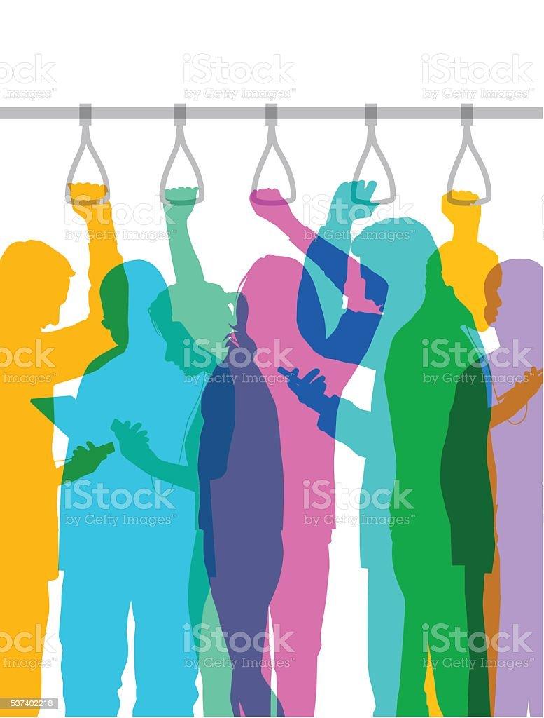 Commuters on bus or train, strap hanger version vector art illustration