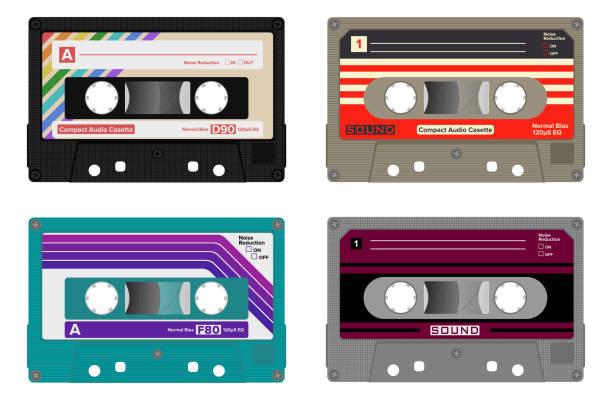ilustrações, clipart, desenhos animados e ícones de gaveta de áudio compacta. - fita cassete