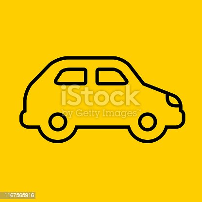 Compact Car Side View Icon. This 100% royalty free vector illustration is featuring a yellow flat background with the main icon depicted in black.