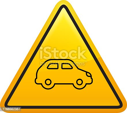 Compact Car Side View Icon. This 100% royalty free vector illustration is featuring a yellow triangle button with rounded corners. The surface of the button is shiny and has a light effect on top. The main icon is depicted in black. There also a thin black outline around the edges of the triangle.