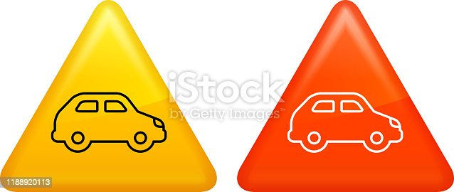 Compact Car Side View Icon. This 100% royalty free vector illustration is featuring a triangular shaped red and yellow buttons. The main icon is depicted in black and in white.