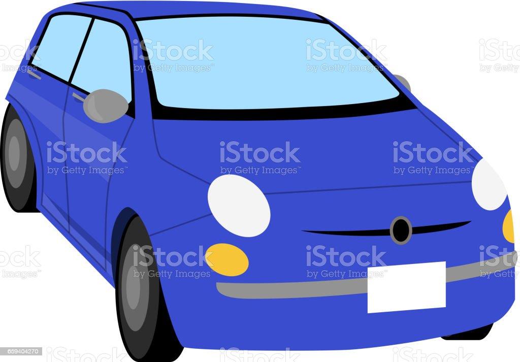 Compact car,Blue car vector art illustration