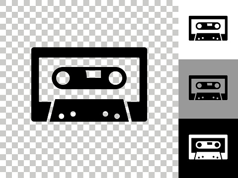 Compact Cassette Icon on Checkerboard Transparent Background