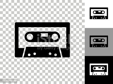 istock Compact Cassette Icon on Checkerboard Transparent Background 1226246188