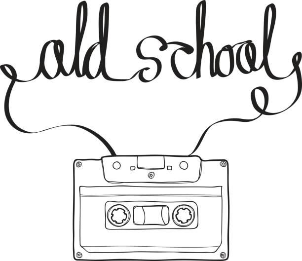 ilustrações, clipart, desenhos animados e ícones de compact cassette ou musicassette, fita, gaveta audio com fita magnética analógica em forma e forma da velha escola arte vetorial linha da ilustração de texto mão desenhada - fita cassete