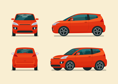 Compact city car four angle set. Car side, back and front view. Vector flat illustration.