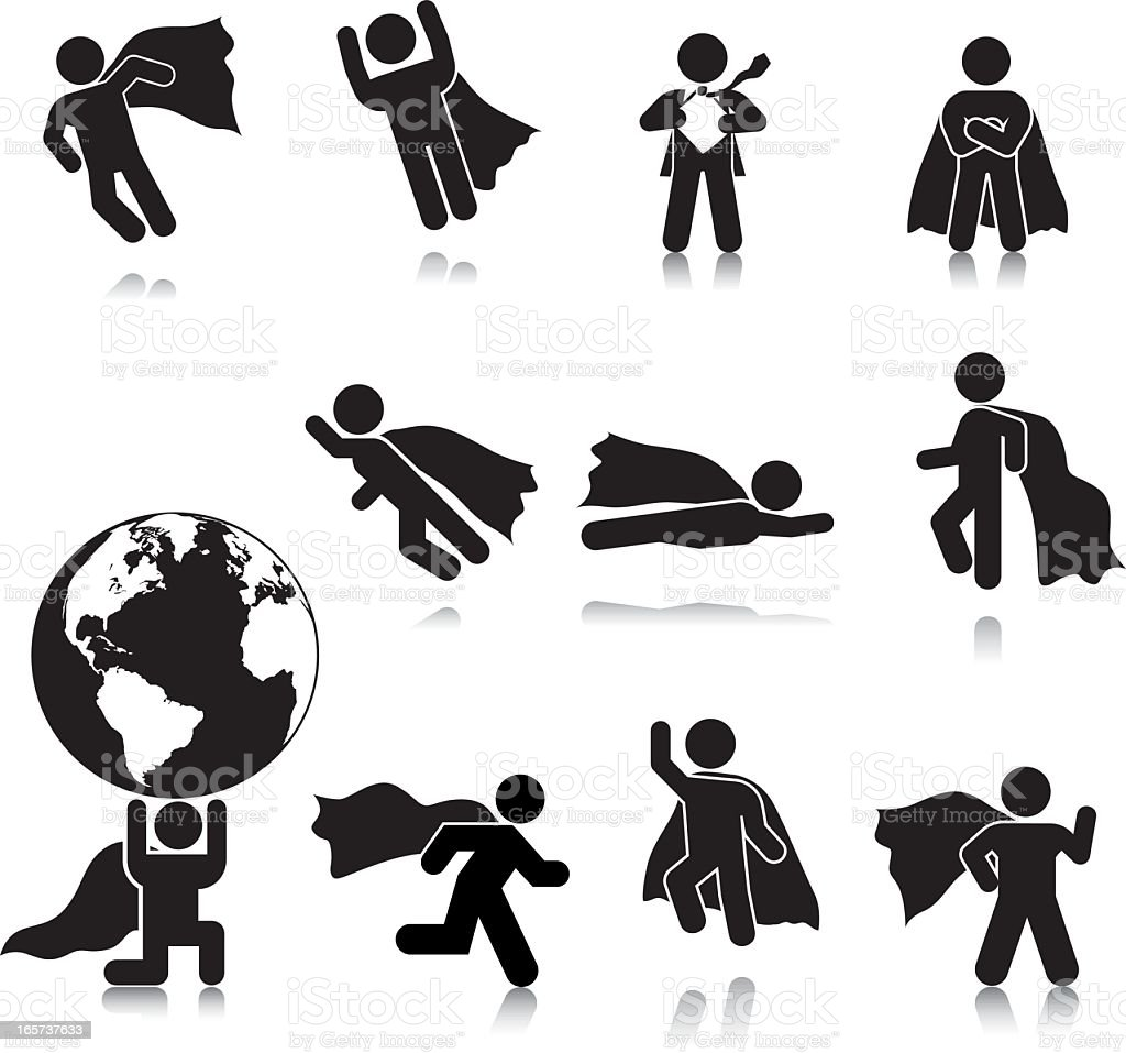 Compact Concepts: Superhero Silhouettes vector art illustration
