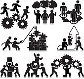 Vectored people engaging in teamwork activities. This format can be blown up to any size without loss of quality.