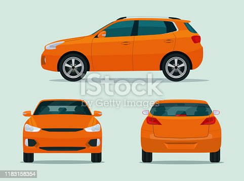 Compact CUV car set isolated. Car CUV with side view, back view and front view. Vector flat style illustration
