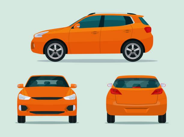 illustrazioni stock, clip art, cartoni animati e icone di tendenza di set di auto cuv compatto isolato. cuv dell'auto con vista laterale, vista sul retro e vista frontale. illustrazione vettoriale in stile piatto - auto