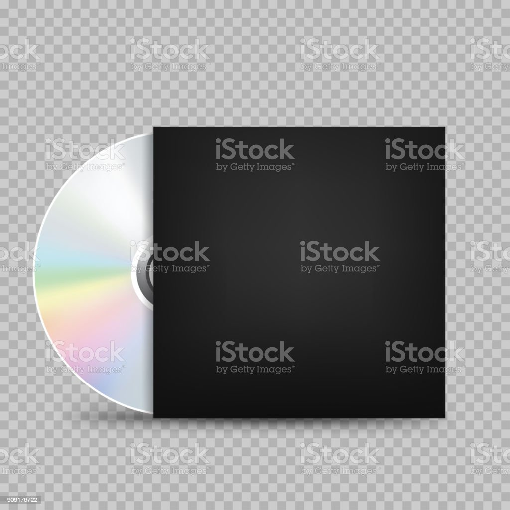 compact disc black cover transparent vector art illustration