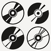 Compact disc icon set.
