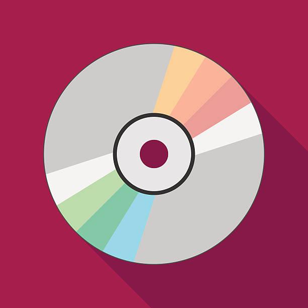 ilustrações, clipart, desenhos animados e ícones de compact disc icon with long shadow. flat style illustration - cd