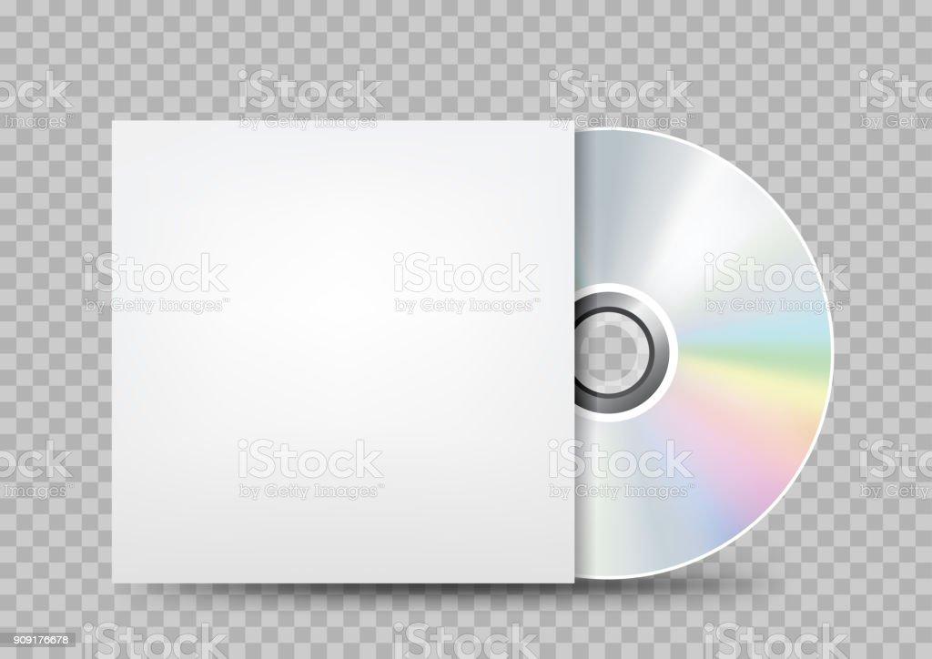 compact disc white cover transparent vector art illustration