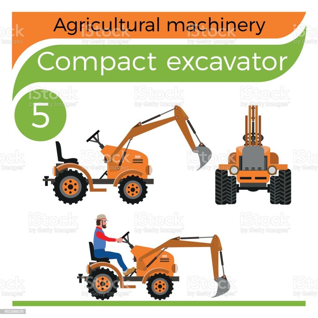Compact excavator vector art illustration