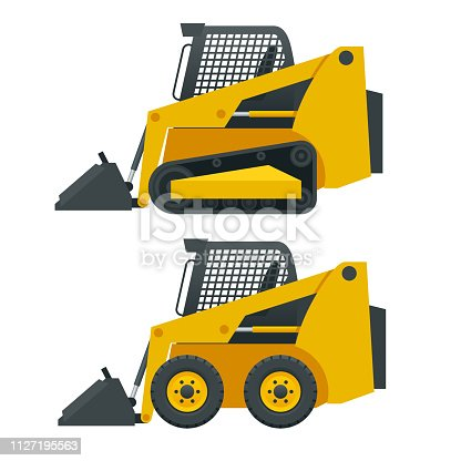 Compact Excavators. Steer Loader side view isolated on a white background.