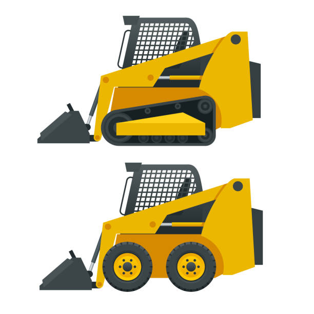 Compact Excavators. Steer Loader side view isolated on a white background Compact Excavators. Steer Loader side view isolated on a white background. bobcat stock illustrations