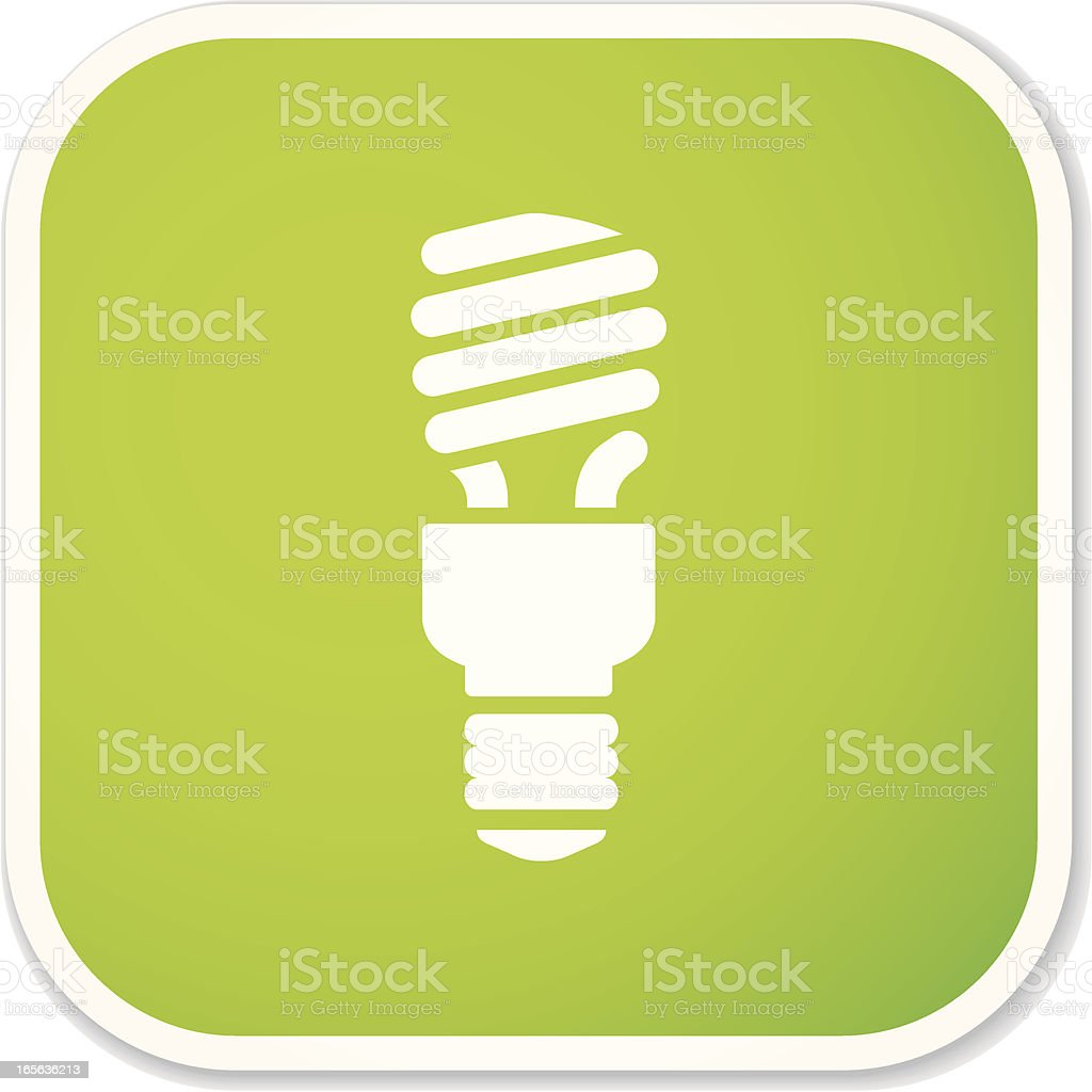 compact fluorescent light bulb sq sticker royalty-free stock vector art