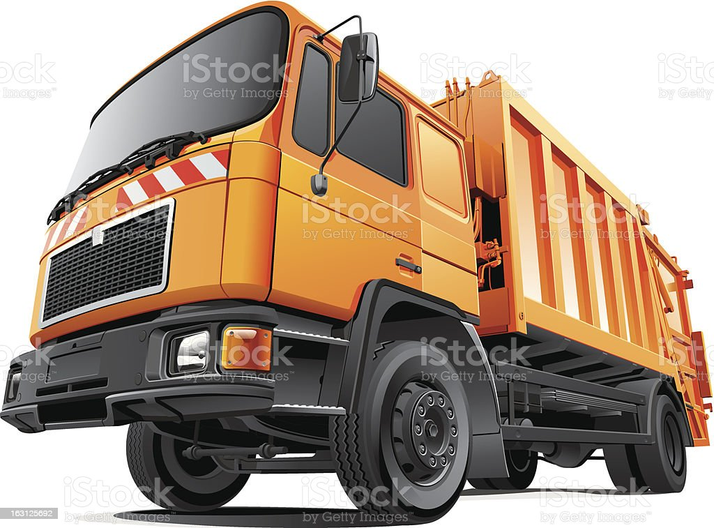 Compact Garbage Truck vector art illustration