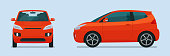 Compact hatchback car two angle set. Car side and front view. Vector flat illustration.