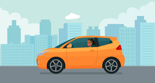 Compact hatchback car with a young afro american woman driving on a background of abstract cityscape. Vector flat style illustration. vector art illustration