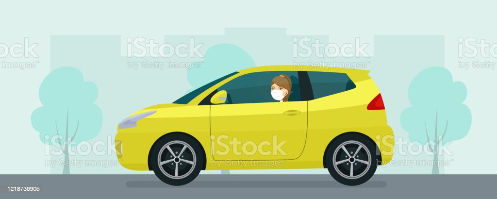 Compact hatchback car with a young woman in medical mask driving on a background of abstract cityscape. Vector flat style illustration. Compact hatchback car with a young woman in medical mask driving on a background of abstract cityscape. Vector flat style illustration. Adult stock vector