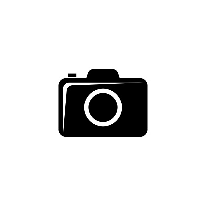 Compact Photo or Video Camera, DSLR. Flat Vector Icon illustration. Simple black symbol on white background. Compact Photo or Video Camera, DSLR sign design template for web and mobile UI element.
