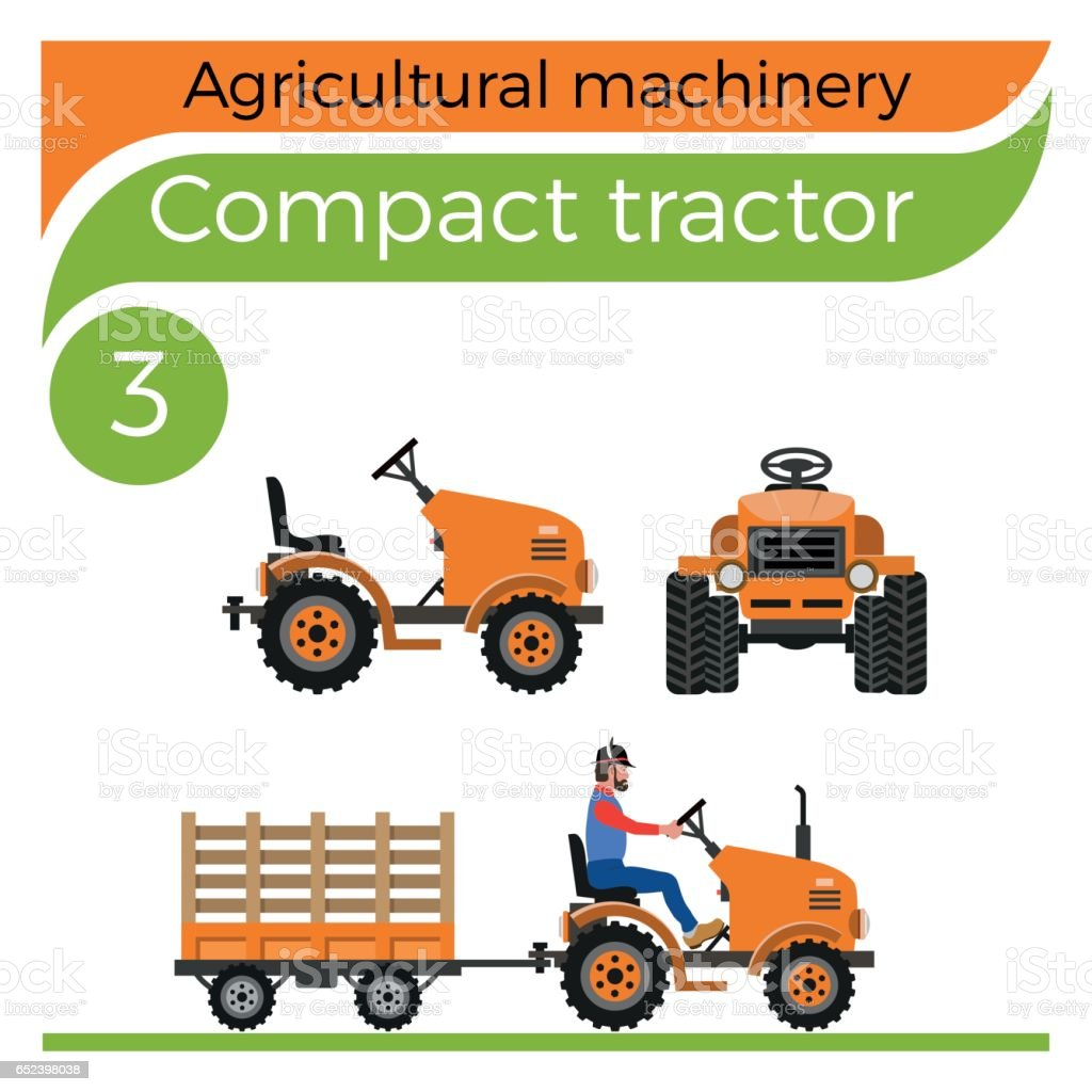Compact tractor vector art illustration