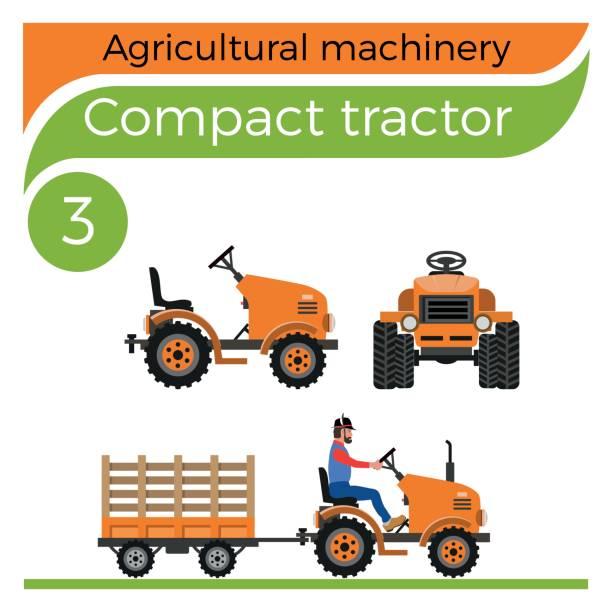 bildbanksillustrationer, clip art samt tecknat material och ikoner med kompakttraktor - traktor pulling