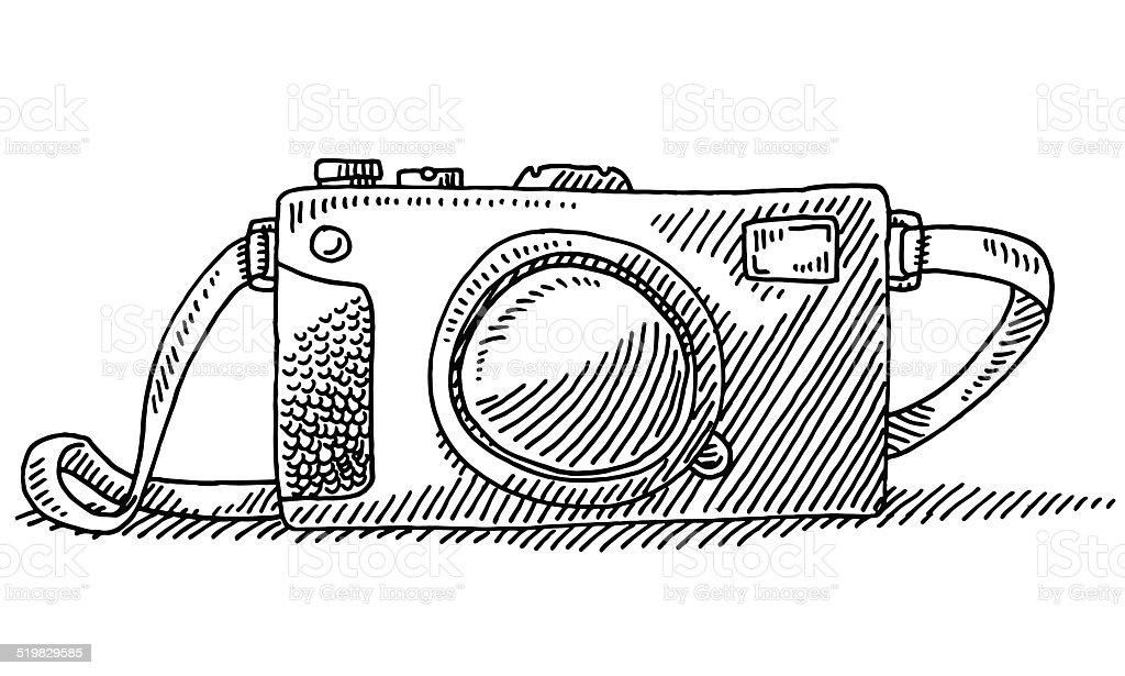 Compact Travel Camera Drawing vector art illustration