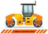 Compactor. Detailed illustration of heavy construction machines and equipment. Vector illustration