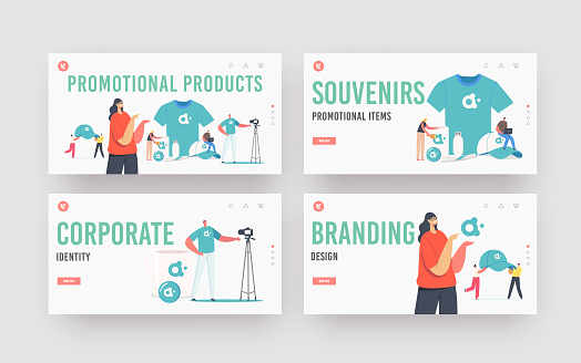 Company Advert Landing Page Template Set. Tiny Characters with Huge Promotional Products for Brand Identity