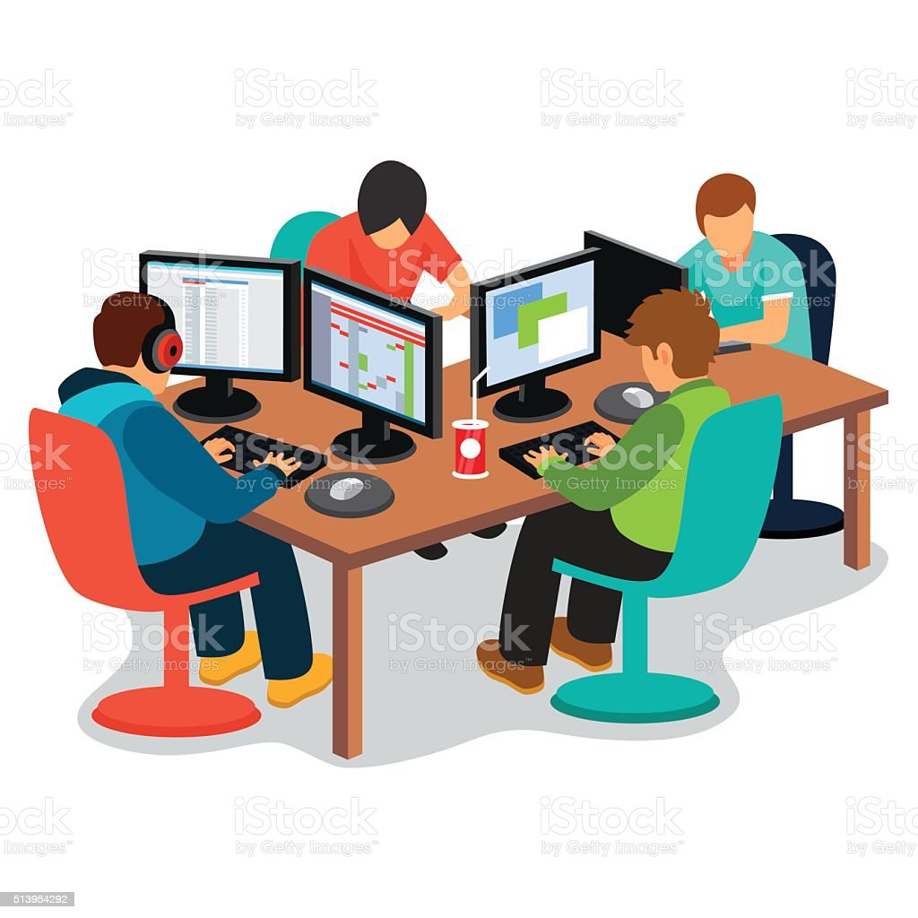 IT company at work vector art illustration