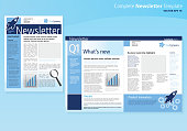 Vector illustration of a company business newsletter design template with sample text layout mast head, headings, sub headings body text, and design elements. Blue palette. Design elements include blank photo area, gears, retro rocket, bar graph and magnifying glass, texture and color theme. Download includes Illustrator 10 eps with transparencies, high resolution jpg and png file.