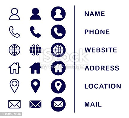 Company Connection business card icon set. Phone, name, website, address, location and mail logo symbol sign pack. Vector illustration image. Isolated on white background. Contact design template.