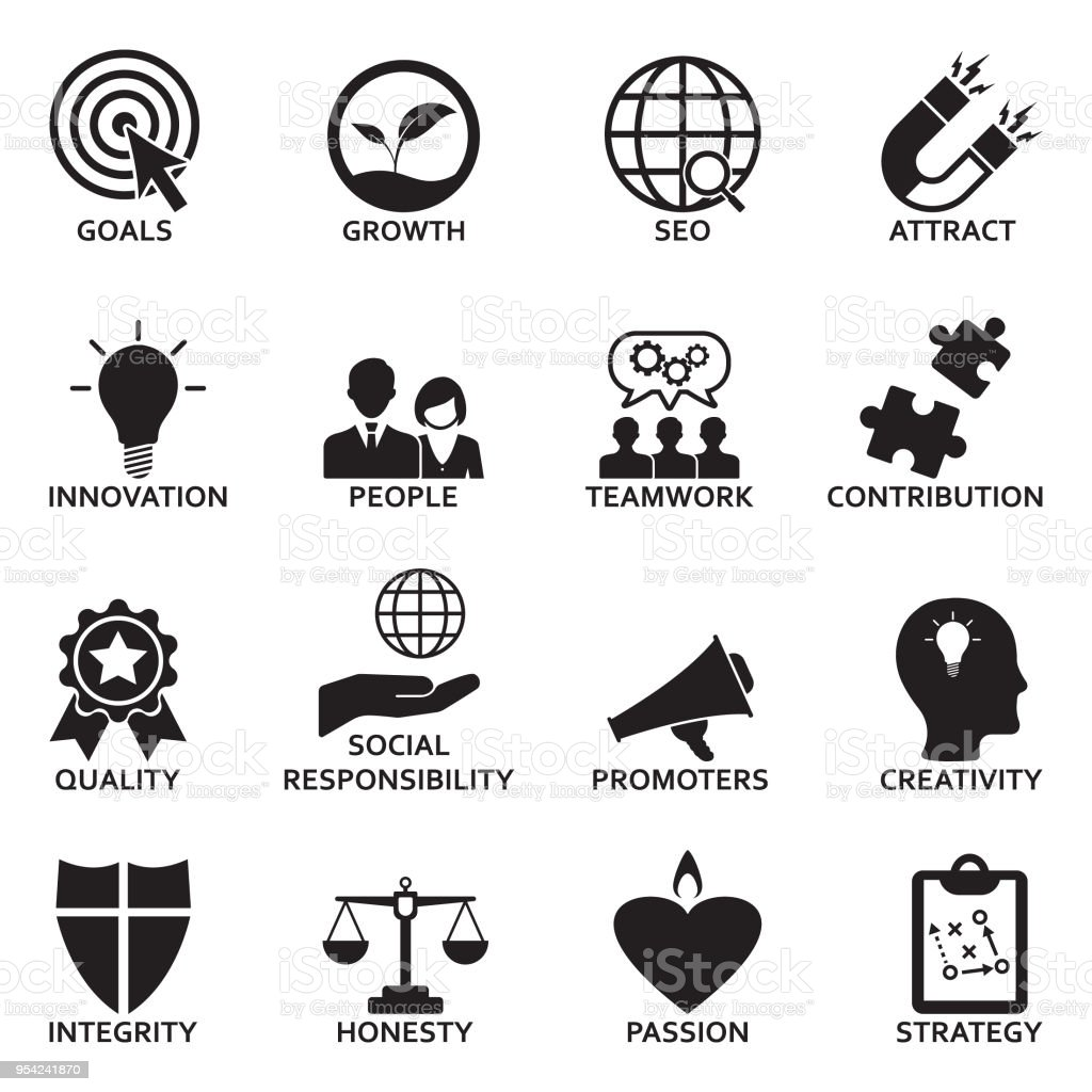 Company Core Values Icons. Black Flat Design. Vector Illustration. vector art illustration