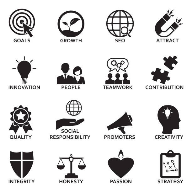 Company Core Values Icons. Black Flat Design. Vector Illustration. vector art illustration