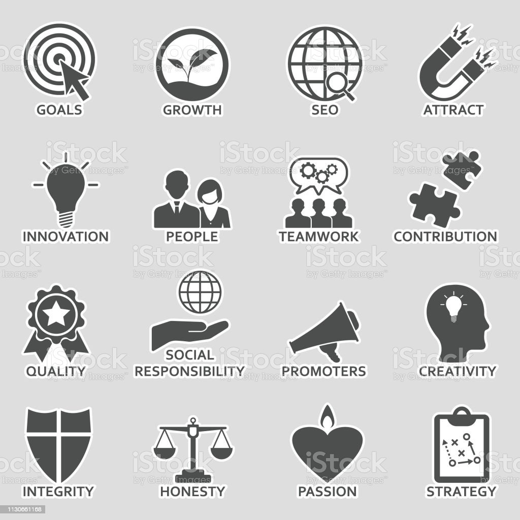 Company core values icons sticker design vector illustration royalty free company core