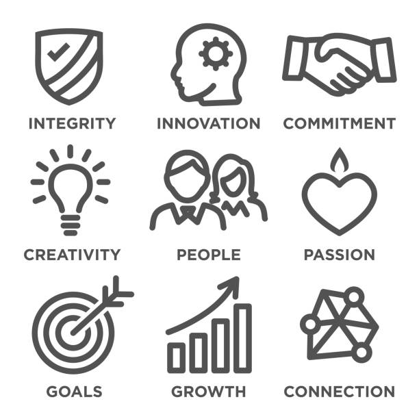 Company Core Values Outline Icons for Websites or Infographics Company Core Values Outline Icons for Websites - Infographics dedicated stock illustrations